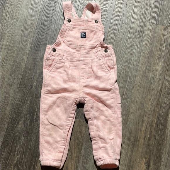 4/$20 OshKosh Soft Material Pink Overalls 24 mth